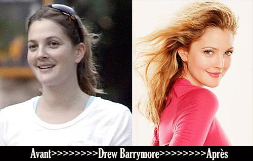 Avant après «Drew Barrymore»